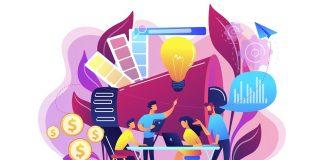Digital marketing team concept vector illustration.